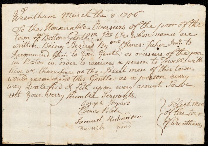 Document of indenture: Servant: Craig, Abigail. Master: Fisher, Ebenezer. Town of Master: Wrentham. Selectmen of the town of Wrentham autograph document signed to the Overseers of the Poor of the town of Boston: Endorsement Certificate for Ebenezer Fisher.