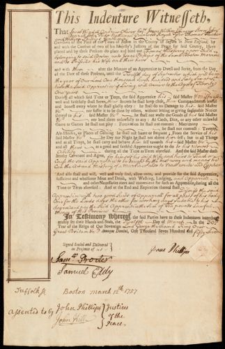 Document of indenture: Servant: Pilsberry, Thomas. Master: Phillips, Isaac. Town of Master: Boston