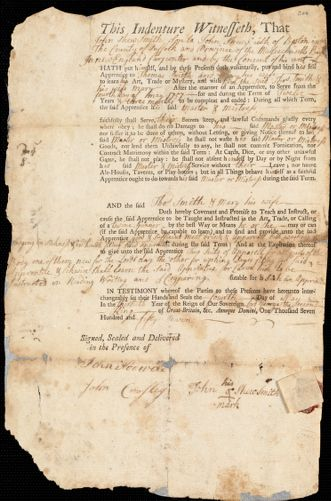 Document of indenture: Servant: Smith, Thomas and Mary. Master: Smith, John Shew. Town of Master: Boston
