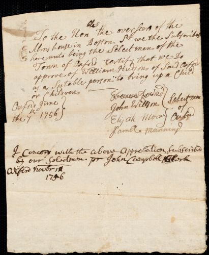 Document of indenture: Servant: Noel, Elizabeth. Master: Hudson, William. Town of Master: Oxford. Selectmen of the town of Oxford autograph document signed to the Overseers of the Alms House in Boston: Endorsement Certificate for William Hudson.