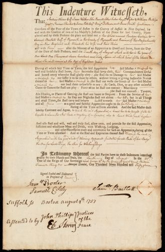 Document of indenture: Servant: Curtain, Penelope. Master: Bartlett, Samuel. Town of Master: Plymouth