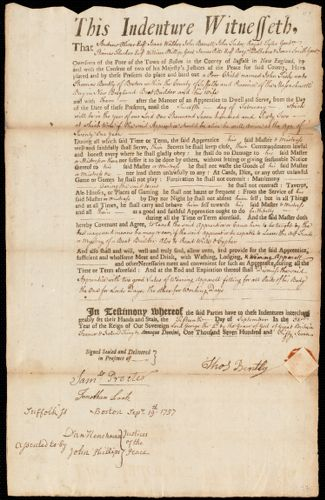 Document of indenture: Servant: Fisk, John. Master: Bently, Thomas. Town of Master: Boston