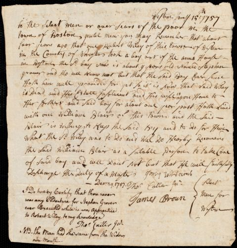 Document of indenture: Servant: Grover, Stephen. Master: Blair, William. Town of Master: Weston. Selectmen for the town of Weston autograph document signed to the Overseers of the Poor in the town of Boston: Endorsement Certificate for William Blair.