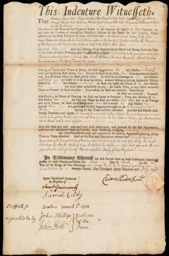 Document of indenture: Servant: Kilby, Robert. Master: Ford, Cadwallader [Cadwallador]. Town of Master: Wilmington