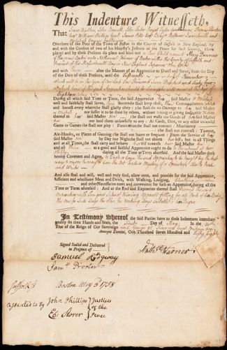 Document of indenture: Servant: Devereux, Mary. Master: Warner, Nathaniel [Nathanael]. Town of Master: Boston
