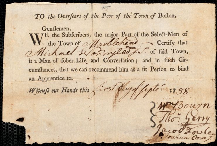Document of indenture: Servant: Fessenden, Parker. Master: Wormstead [Wormsted], Michael. Town of Master: Marblehead. Selectmen of the town of Marblehead autograph document signed to the Overseers of the Poor of the town of Boston: Endorsement Certificate for Michael Wormstead.
