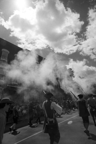 Musket shot salutes at 4th of July parade, Charlestown