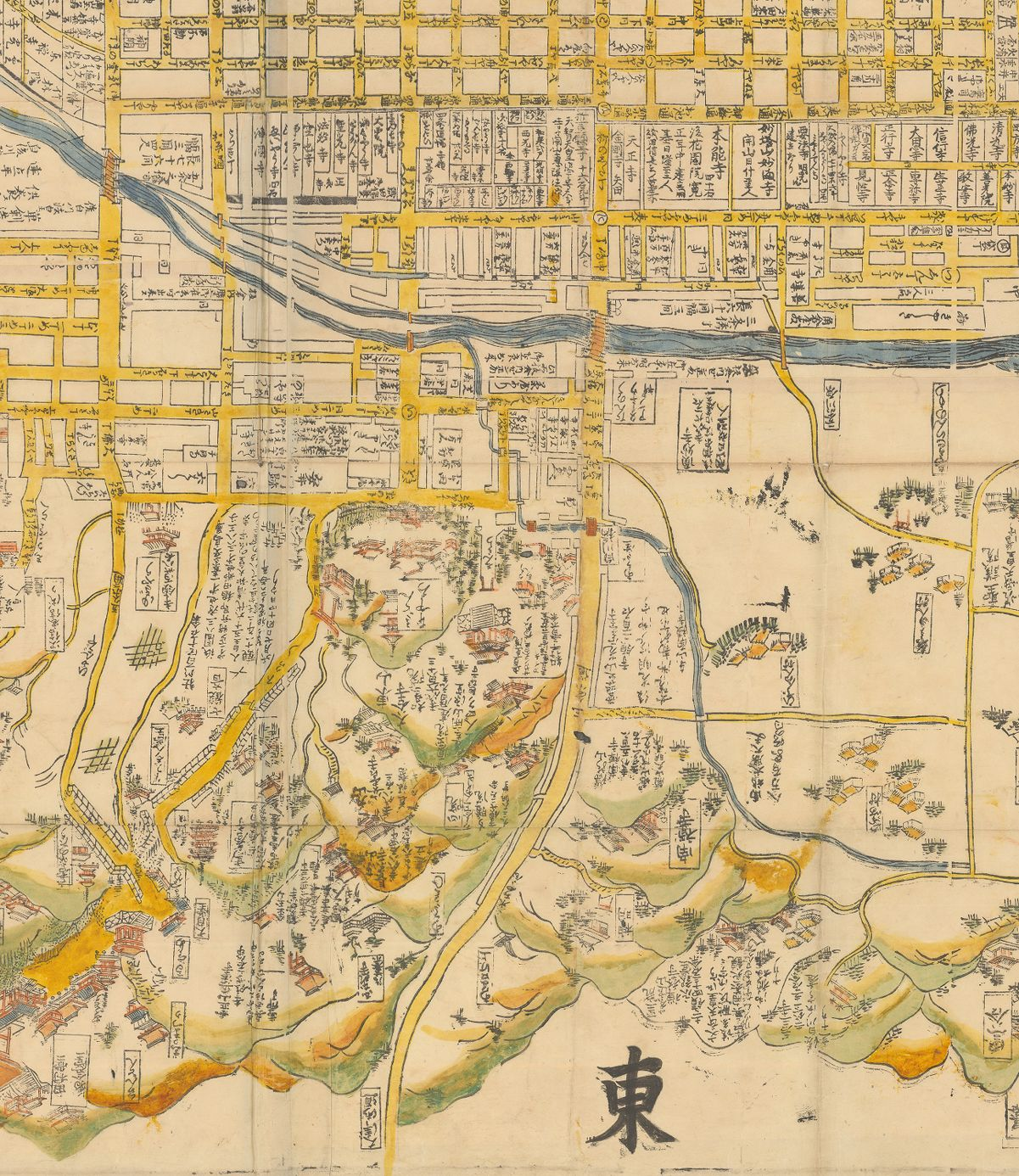 Eastern detail from the Large map of Kyoto (1699)
