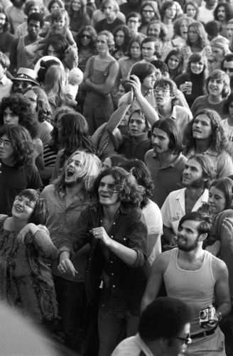 Audience at outdoor summer rock concert, Boston Common