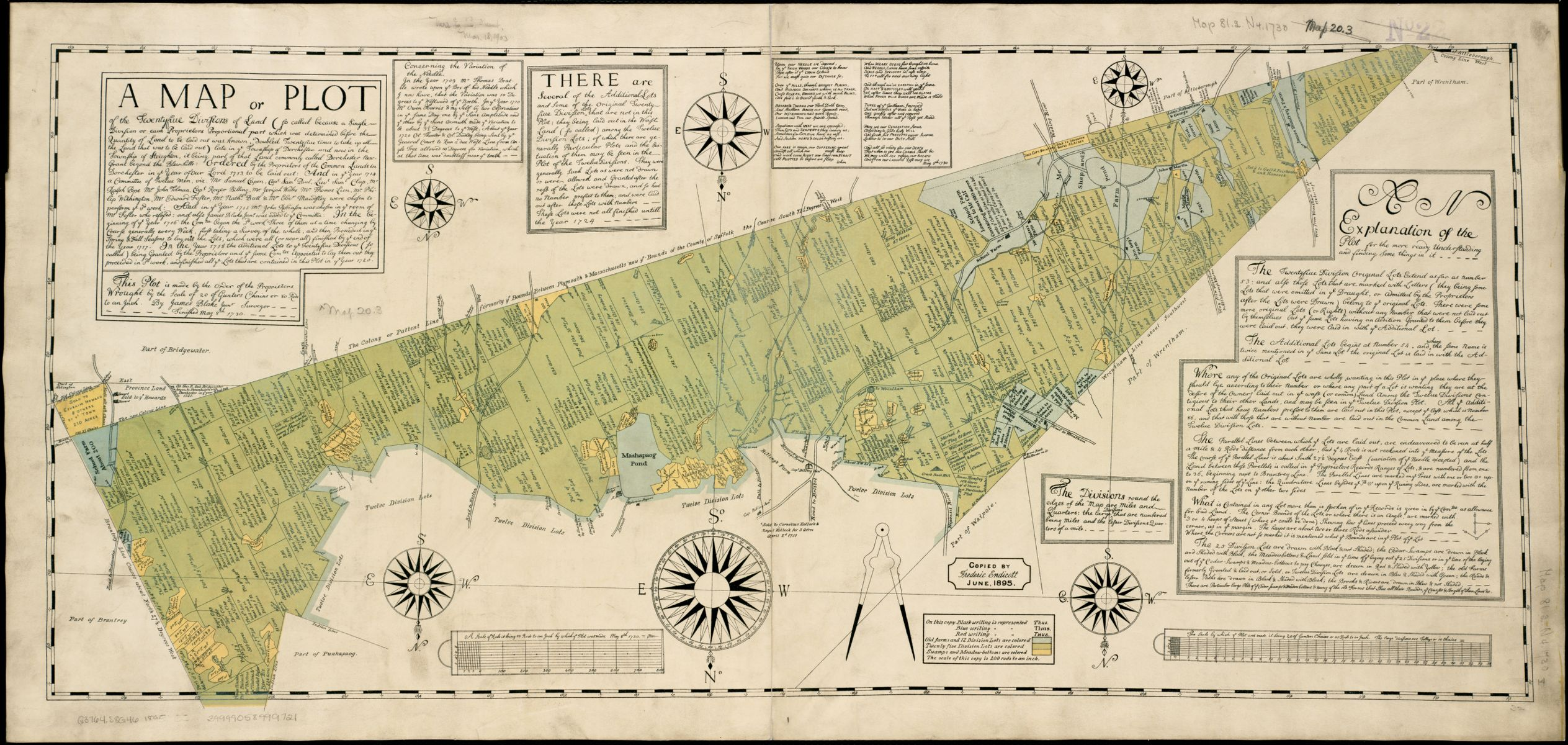 James Blake and Frederic Endicott, A map or plot of the twenty-five divisions of land… (1895 [1730])