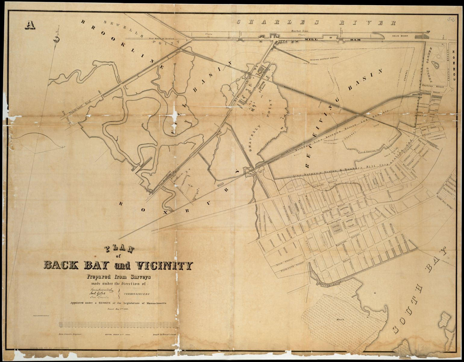 This 1852 plan shows the Back Bay area just before its most dramatic period of land filling