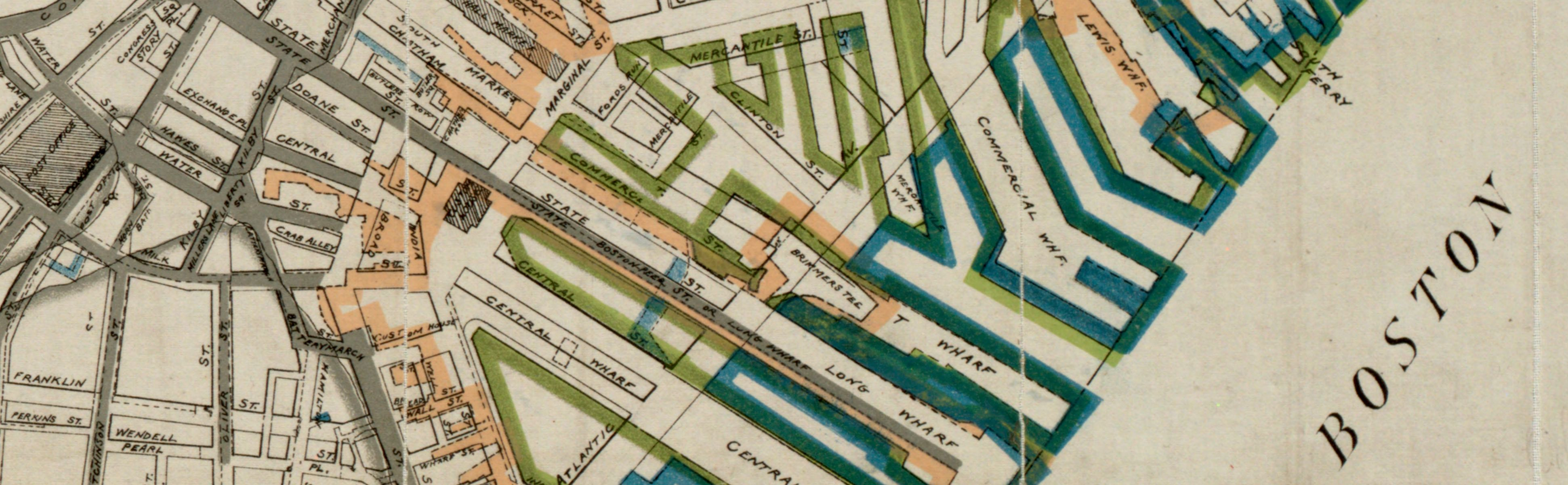 This 1895 map documents the changing shoreline of Boston using different colors