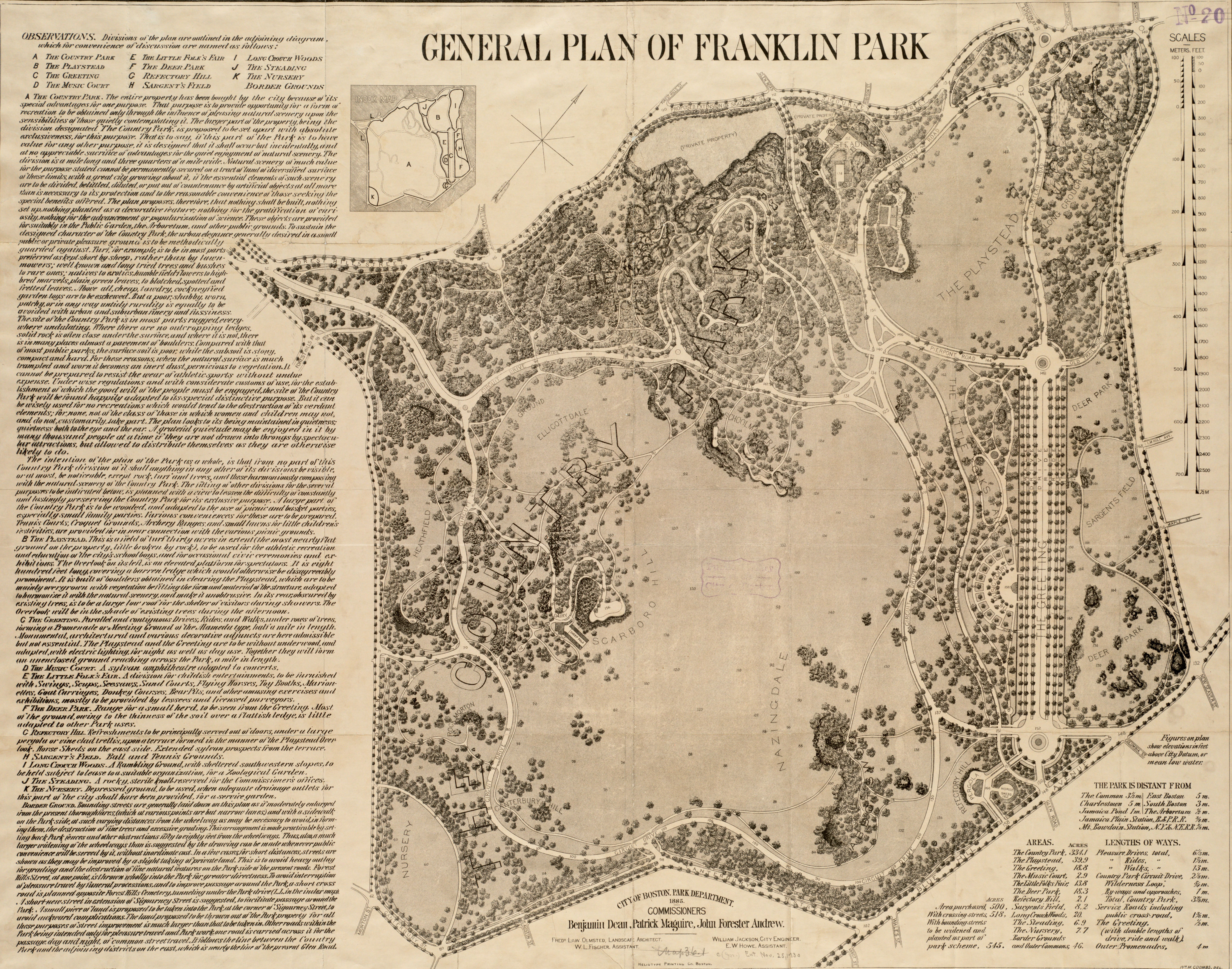 An 1885 general plan of Franklin Park drawn by Frederick Law Olmstead and John Charles Olmstead from the Norman B. Leventhal Map Center Collection.