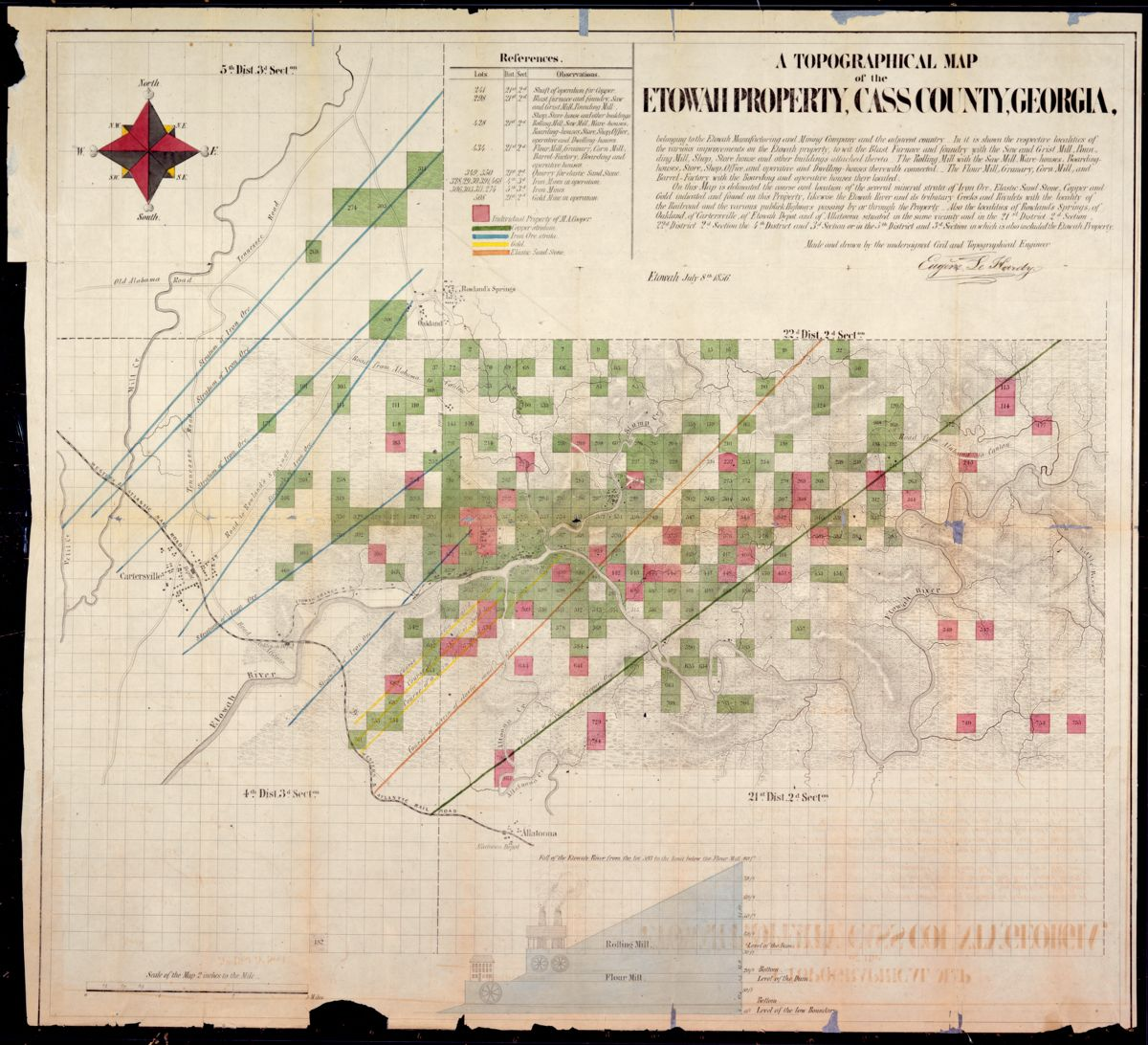 A topographical map of the Etowah property, Cass County, Georgia