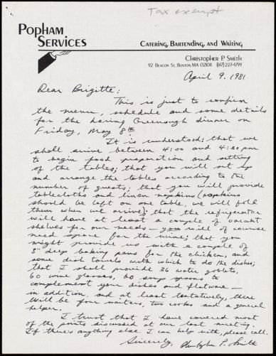 [Letter] 1981 April 9, Christopher P. Smith to Brigitte