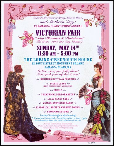 Celebrate the beauty of spring, lilacs in blom and Mothers Day! at Jamaica Plain's first annual Victorian fair