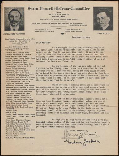 Aldino Felicani and Gardner Jackson autograph letter (circular), Boston, Mass., December 3, 1928