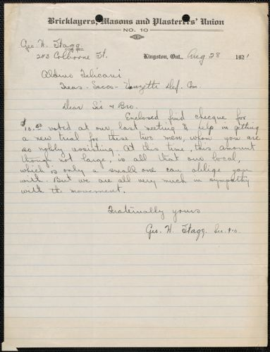 George. H. Stagg (Bricklayers, Masons and Plasterers' Union, No. 10) autograph letter signed to Aldino Felicani, Kingston, Ontario, August 28, 1921