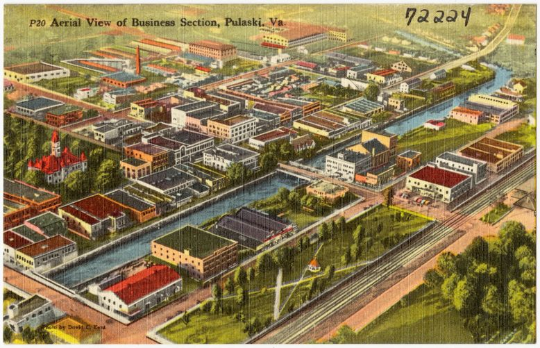 Aerial view of business section, Pulaski, Va.