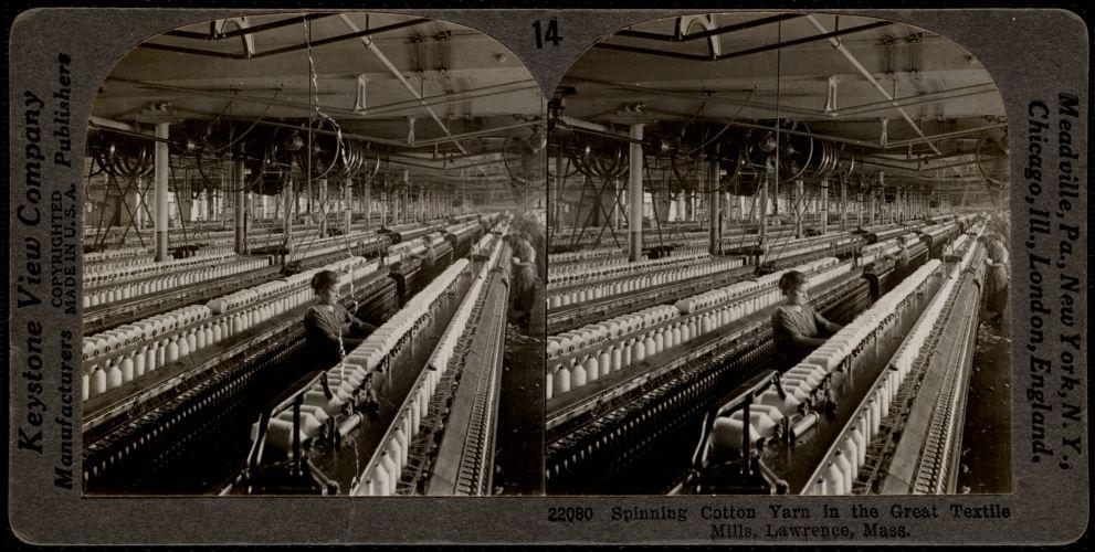 Spinning cotton yarn, Lawrence, Mass.