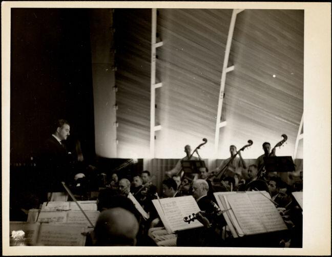 Arthur Fiedler conducting concert on the Esplanade