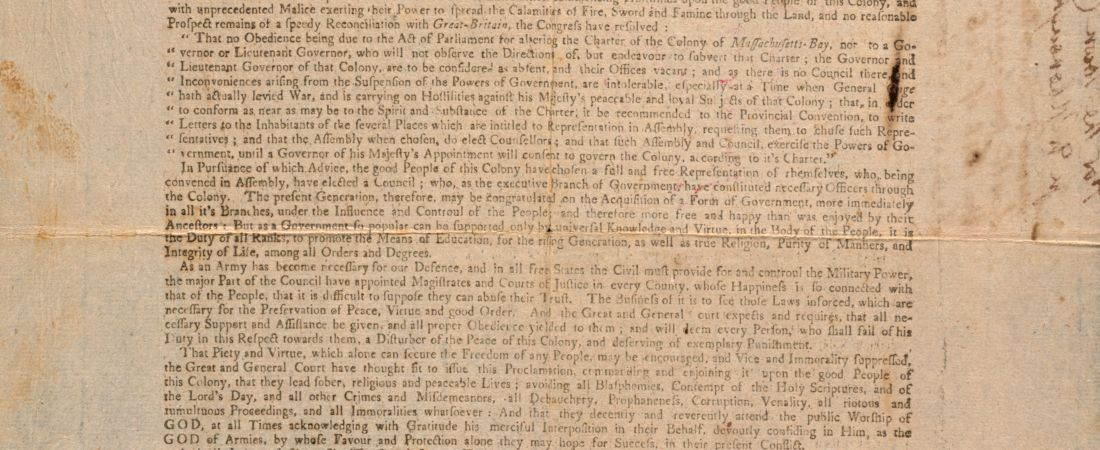 Proclamation of Independence by the General Court of MA Bay, 1776