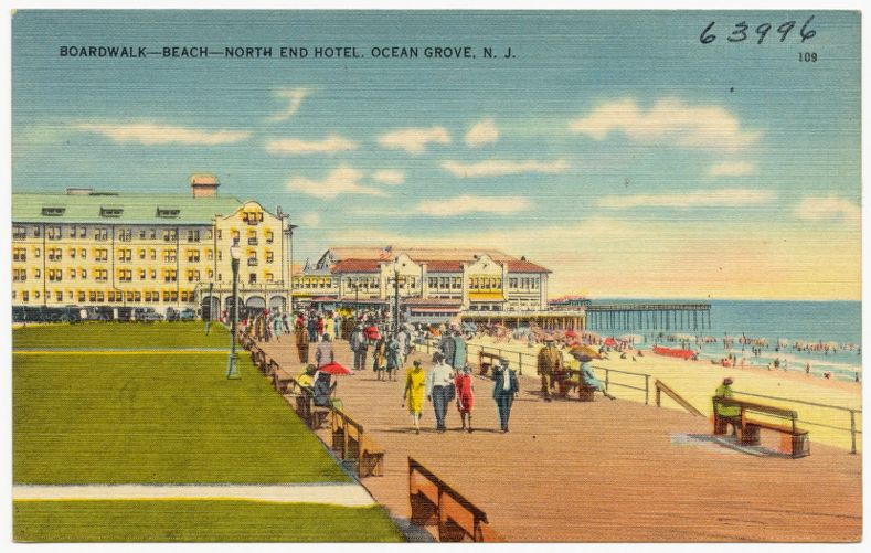 Boardwalk -- beach -- north end hotel. Ocean Grove, N. J.