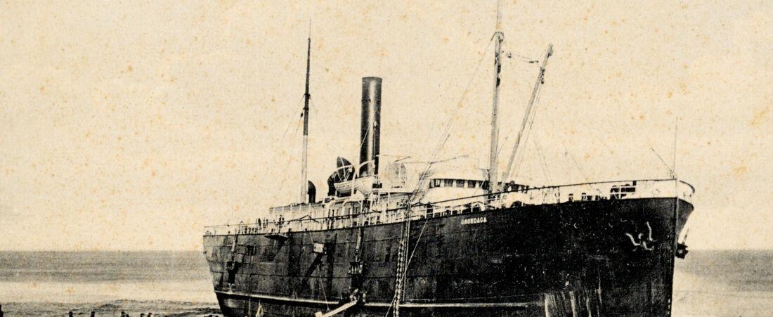 Lightering stranded steamship ashore on Cape Cod