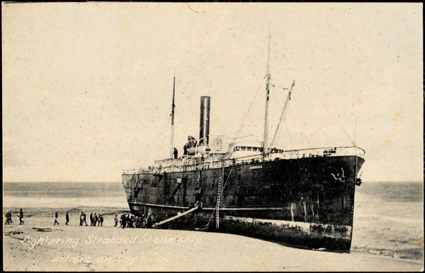 Lightering stranded steamship ashore on Cape Cod