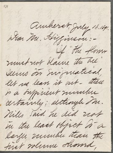 Mabel Loomis Todd, Amherst, Mass., autograph letter signed to Thomas Wentworth Higginson, 18 July 1891
