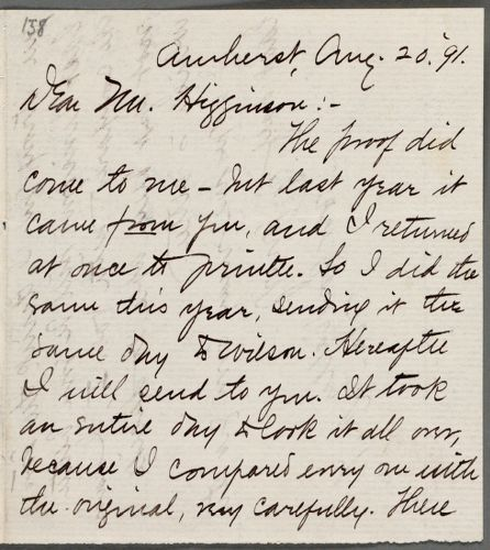 Mabel Loomis Todd, Amherst, Mass., autograph letter signed (initials) to Thomas Wentworth Higginson, 20 August 1891