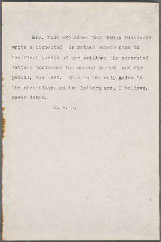 Thomas Wentworth Higginson typed note, 19??