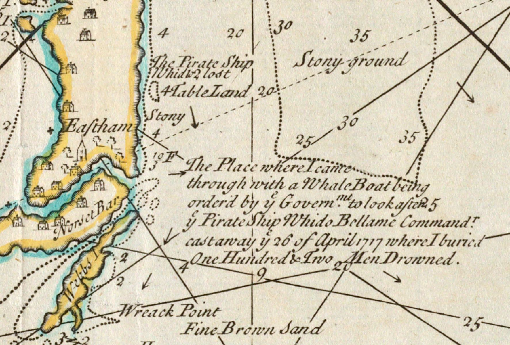 In this this detail Southack denoted where the pirate ship Whydah went down as well as where the whale boat he hired traveled from Provincetown to Eastham through a natural canal called Jeremiah's Gutter. The canal no longer exists due to shifting sands and erosion.