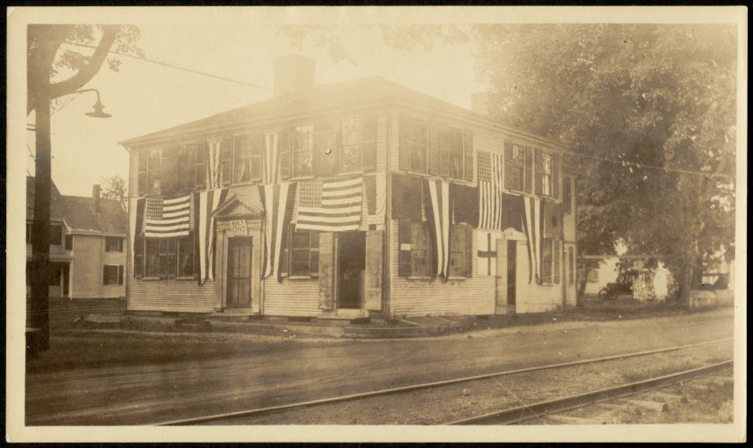 Joseph Holmes House, 232 Main Street, with flags and bunting