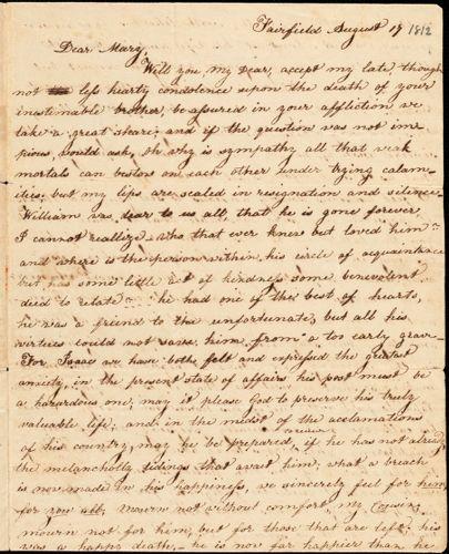 Elizabeth Hull to Mary Wheeler Hull, Fairfield, August 17, [1812]