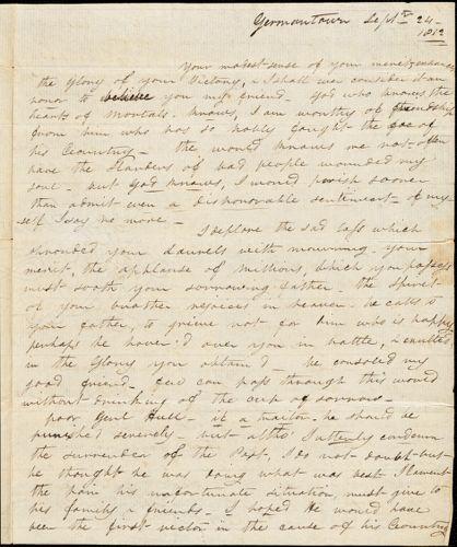 E. V. Curtis to Isaac Hull, Germantown, Pa., September 24, 1812
