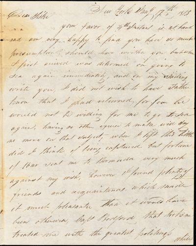 Henry Hull to Mary Wheeler Hull, New York, March 17, 1813