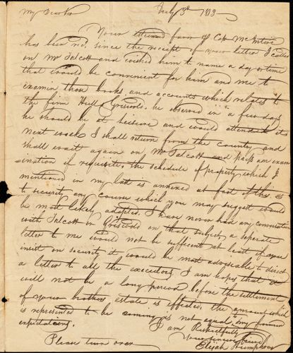 Elijah Humphrey to Isaac Hull, July 3, 1813