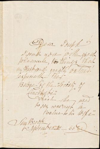 Ann McCurdy Hart Hull to Joseph B. Hull, Saybrook, September 21, 1866