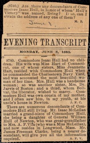 Clippings: Herald (1896), Evening Transcript (1885)