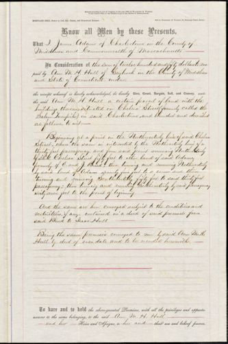 Hull, Ann McCurdy Hart. Deeds to property, 1859 & 1866