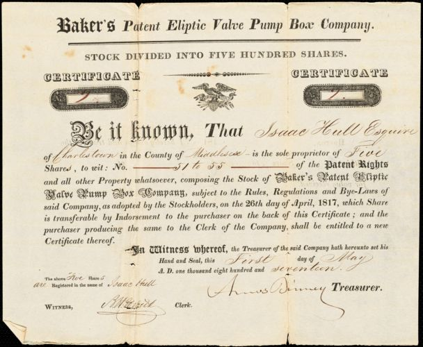 Hull, Isaac. Business papers including stocks, receipts, shipping notices... 1817-1834