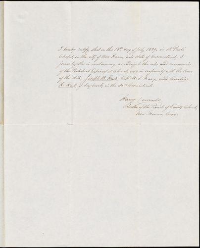 Hull, Joseph B. & Amelia H. Hart. Marriage certificate, July 15, 1839