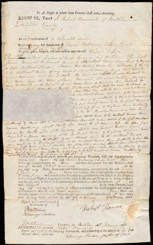 Hull, Levi. Deeds to properties, 1808-1825