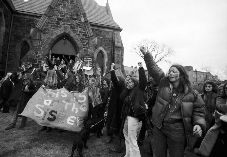 Feminist parade marchers at Cambridge Baptist Church, Cambridge