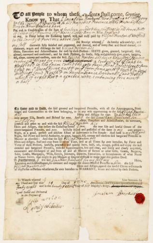 Land deed, Jonathan Bardwell to Elijah Morton, June 14, 1748