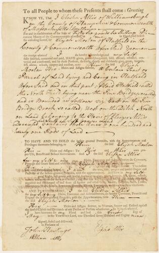 Land deed, Elisha Allis of Williamsburg to Elijah Morton, May 1, 1789