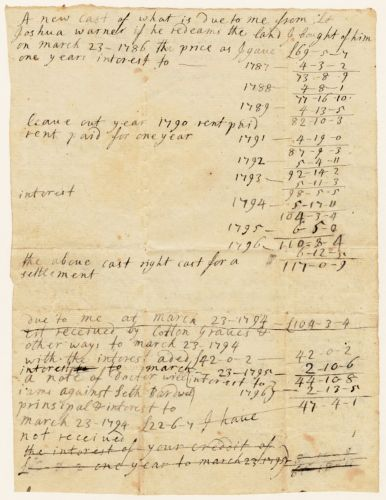 Payment calculations, 1787-1796, for land purchased from Lt. Joshua Warner