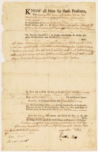Land deed, Augustus Fitch and Edithia [?] Fitch of Hartford Colony to Elijah Morton, January 6, 1768