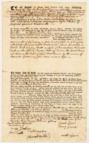 Land deed, Perez Graves, Martha Graves, Oliver Morton, Hannah Morton, and Sarah Gillet to Elijah Morton, November 8, 1762